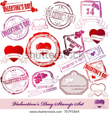 Valentine Day stamps - stock photo
