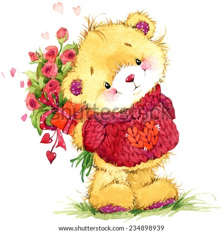Valentine day. Teddy bear and flower. watercolor illustration  - stock photo