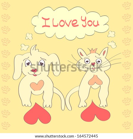 Valentine Dog and Cat cute cartoon character Love Heart Valentines day Greeting card Hand drawn trendy colors Romantic concept Illustration - stock photo