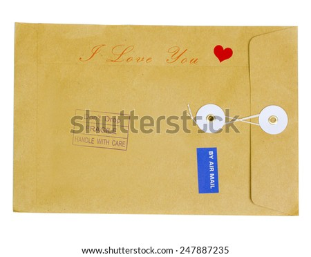 valentine envelope with red heart - airmail - stock photo
