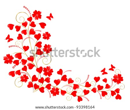Valentine floral background with a butterflies. Raster version. - stock photo