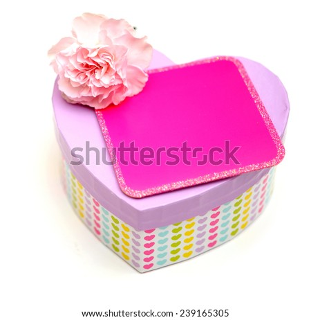 valentine gift  box with carnation flower and empty card - stock photo