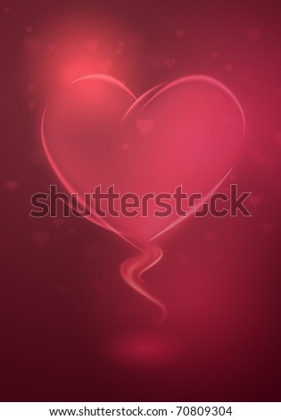 Valentine greeting card with red and pink heart - stock photo
