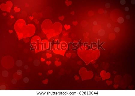 Valentine grunge heart shaped lights background - stock photo