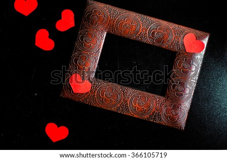 valentine heart and blackboard,gift box,,horizontal photo - stock photo