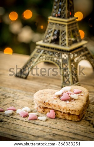 valentine heart cake with decoration and eiffel tower