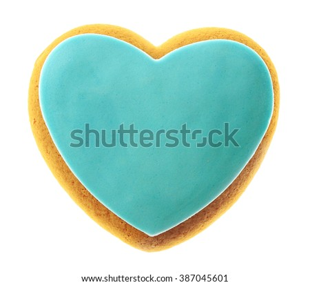 Valentine heart cookie isolated on white - stock photo