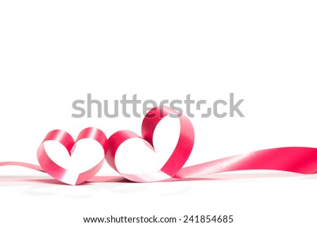 Valentine Heart. Elegant Red satin gift Ribbon. Isolated on white - stock photo