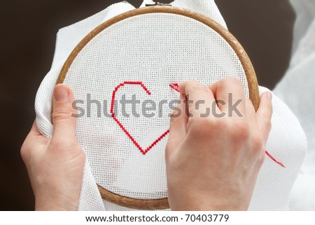 valentine heart, embroidered - stock photo