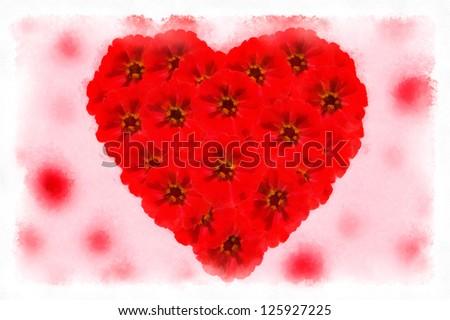 Valentine heart flowers - stock photo