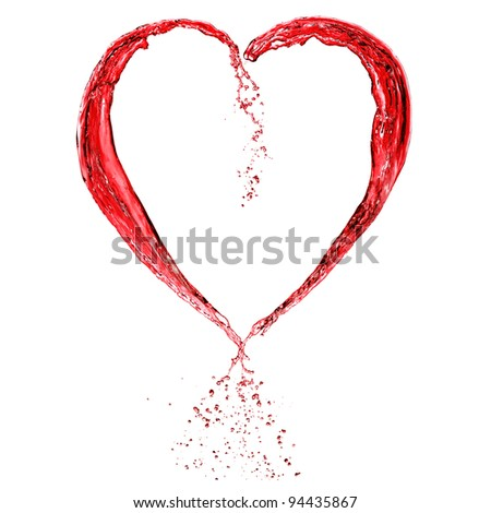Valentine heart from red wine isolated on white background - stock photo