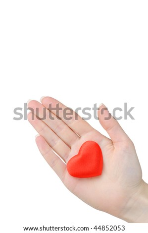 Valentine heart in a female hand isolated on white background