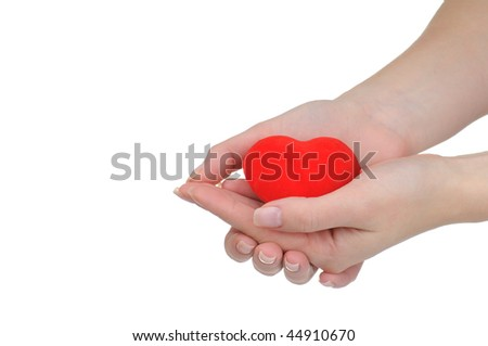 Valentine heart in a female hands isolated on white background