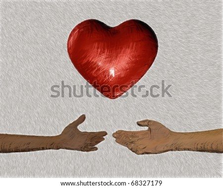 Valentine heart in hands abstract concept sketch. Love gift.