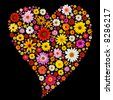 Valentine heart made from colorful spring daisies isolated on black. - stock photo