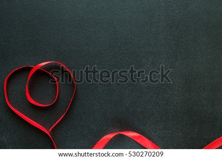 Valentine heart on black chalkboard. Valentine's day