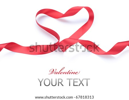 Valentine Heart.Red satin gift Ribbon. Isolated on white