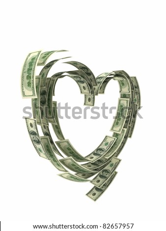 valentine heart shape made by dollars isolated - stock photo