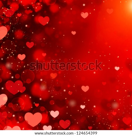 Valentine Hearts Abstract Red Background. St.Valentine's Day Wallpaper. Heart - stock photo