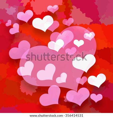 Valentine hearts background - stock photo