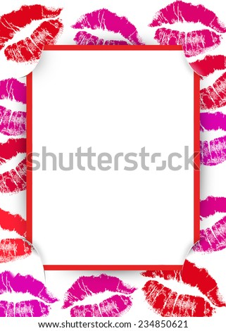 valentine lipstick kisses with slit corner red frame and white background - stock photo