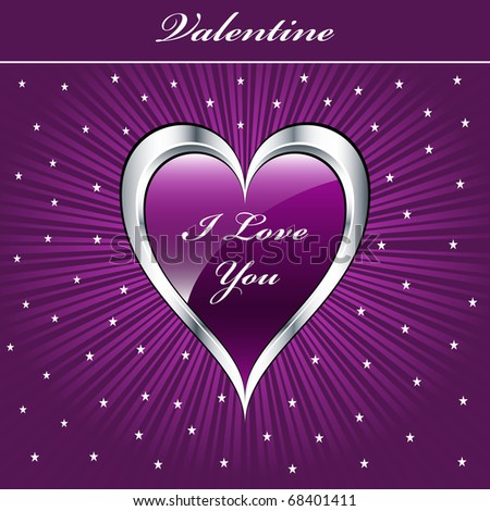 Valentine love heart in purple and silver on sunburst background with stars. Copyspace for text. Vector also available.