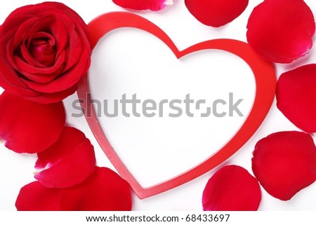 Valentine ornament--Red rose and heart-shaped frame - stock photo