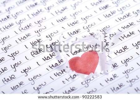 Valentine Photo Concept: Love beneath the I hate you words - stock photo