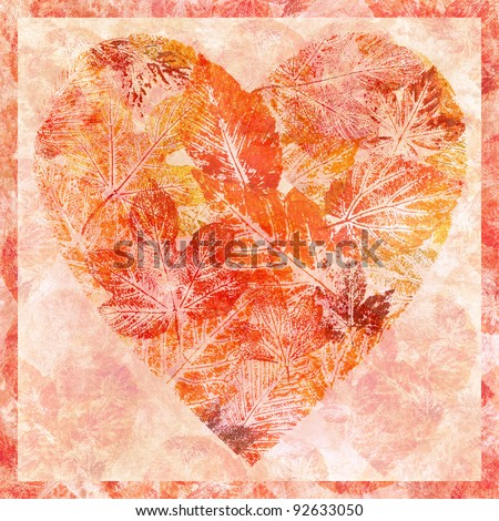 Valentine red heart from leaves, hand-draw, watercolour on a paper - stock photo