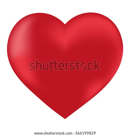 Valentine red heart on a white background. Romantic card for Valentine's Day. Isolated object, illustration