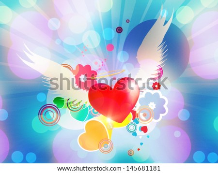 Valentine red heart with white angel wings on blue background.