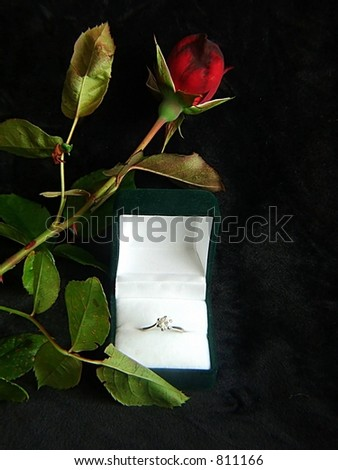 valentine Rose and Ring - stock photo