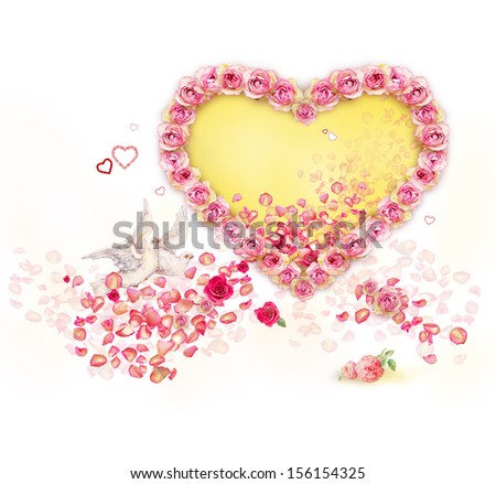 Valentine roses heart and two pigeons - stock photo