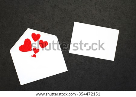 Valentine's background with card and envelope