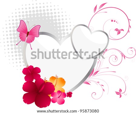Valentine's background with hearts, flowers and floral elements.  Raster illustration. Vector version of this image you can find my portfolio. - stock photo