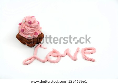 Valentine's cupcakes with love isolated in white - stock photo