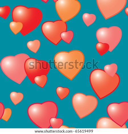 Valentine's day abstract seamless background with hearts. Raster illustration.