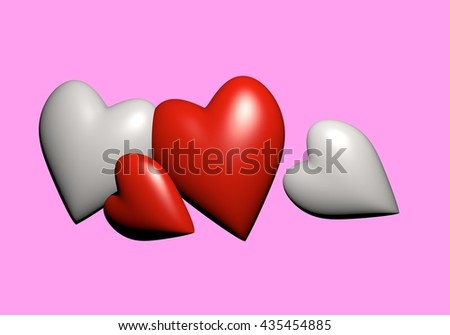 Valentine's Day and Love Symbol. Hearts on pink Background, Red and white hearts 3D rendering. - stock photo