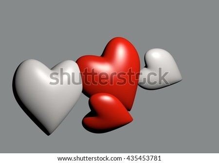 Valentine's Day and Love Symbol. Red and white hearts 3D rendering on gray background. - stock photo
