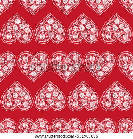 Valentine's Day background with Hand drawn pizza sketch. Seamless pattern with vintage food illustration.