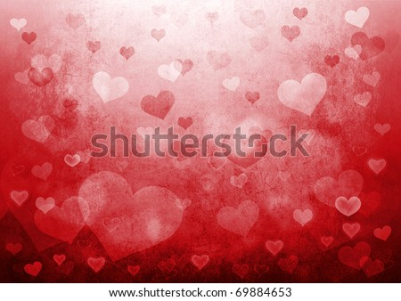 Valentine's day background with hearts - stock photo