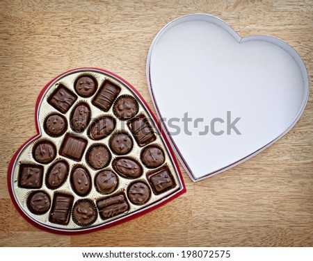 Valentine's Day bonbons in a heart-shaped box