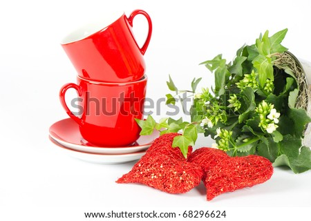 Valentine's Day Breakfast Decoration with red Hearts - stock photo