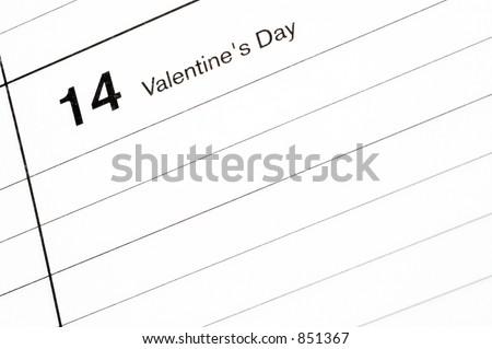 valentine's day calendar blotter room for copy - stock photo