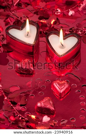 Valentine's Day Candles and chocolate