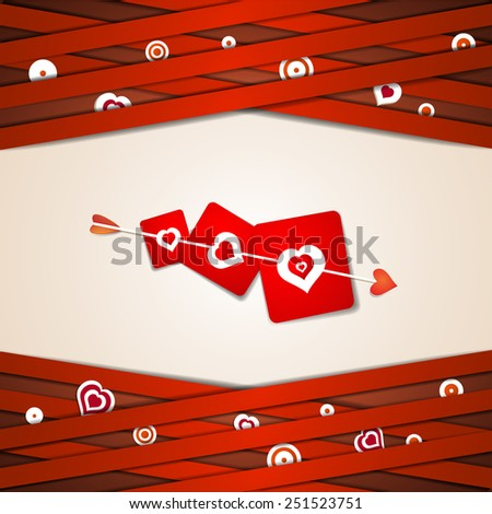 Valentine's day card with hearts and arrow - stock photo