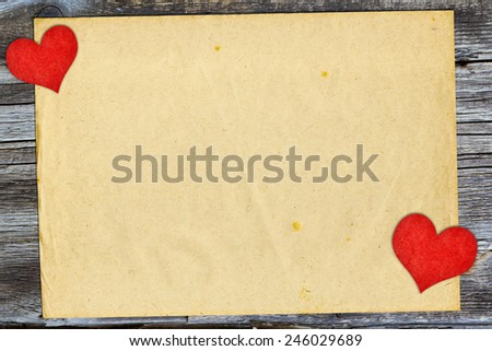 valentine's day card with red shape hearts symbol on vintage paper - stock photo