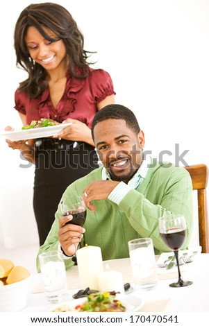 Valentine's Day: Cheerful Man With Wine During Dinner.
