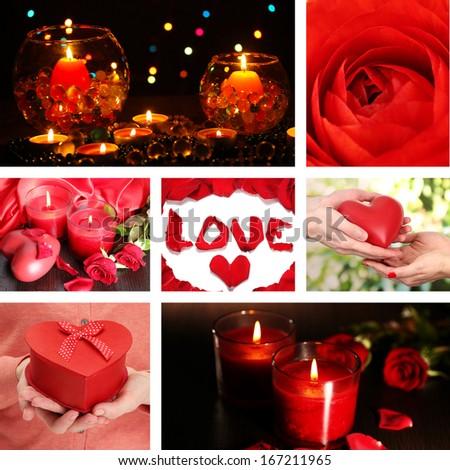 Valentine's Day collage - stock photo