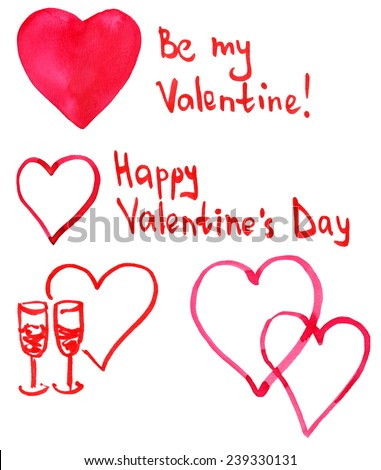 """Valentine's Day collection of watercolour hearts with handwritten text """"Happy Valentine's Day"""" and """"Be my valentine"""" - stock photo"""